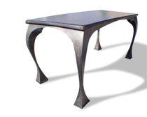 Tavolo design originale / in legno tinto / in metallo patinato / rettangolare