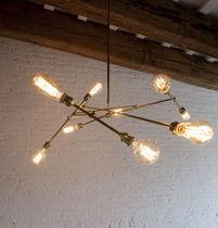 Lampadario design originale / in ottone / a incandescenza / fatto a mano