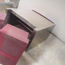 Tavolino basso design originale / in acciaio inossidabile lucido / in acciaio verniciato / rettangolare