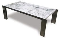 Tavolino basso moderno / in legno dipinto / in acciaio inossidabile / rettangolare