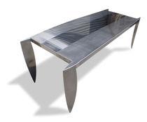 Tavolo design originale / in acciaio inossidabile / rettangolare / quadrato