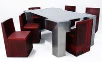 Set tavolo e sedia design originale / in acciaio / in acciaio inossidabile / per interni
