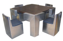 Set tavolo e sedia design originale / in legno / in acciaio inossidabile / per interni