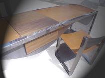 Scrivania in legno / in acciaio inox / in pelle / moderna
