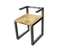 Sedia design / con braccioli / a slitta / in legno massiccio