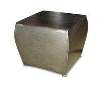 Tavolo d'appoggio moderno / in quercia / in metallo patinato / rettangolare