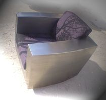 Poltrona design originale / in tessuto / in acciaio inossidabile / con rotelle
