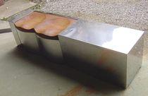 Panca da giardino / design originale / in acciaio inox / in legno