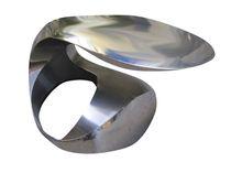 Tavolino basso design originale / in acciaio inossidabile / rotondo / ovale