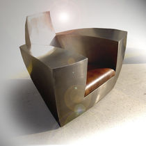 Poltrona design originale / in pelle / in acciaio inossidabile / con rotelle nascoste