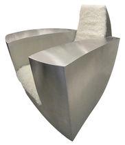 Poltrona design originale / in acciaio inossidabile / in pelle di capra / con braccioli