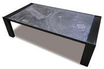 Tavolino basso moderno / in metallo / in pietra ricostituita / rettangolare