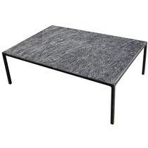 Tavolino basso design minimalista / in metallo / in pietra ricostituita / rettangolare