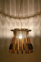 Lampadario design originale / in legno / a incandescenza / fatto a mano