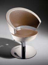Poltrona da parrucchiere ecopelle / in acciaio / in metallo cromato / in poliuretano
