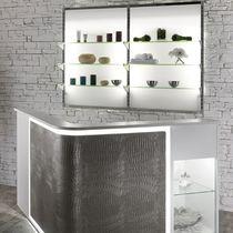 Espositore da parete / per prodotti di bellezza / in vetro / retroilluminato