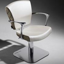 Poltrona da parrucchiere ecopelle / in alluminio / girevole / altezza regolabile