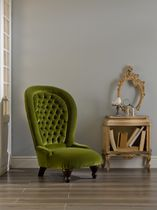 Poltrona classica / con schienale alto / in velluto / verde