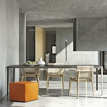 Tavolo da pranzo moderno / in vetro / in acciaio / rettangolare