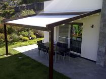 Pergola addossata / in alluminio / con coperture scorrevoli in tela / su misura