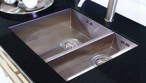 Lavello a 2 vasche / in acciaio inox / quadrato