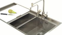Lavello a 2 vasche / in acciaio inox / con gocciolatoio