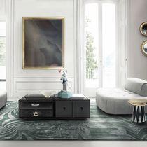 Tavolino basso moderno / in legno laccato / in vetro / rettangolare