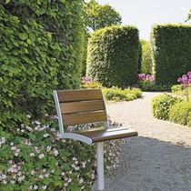 Sedia da giardino moderna / girevole / in metallo / in legno