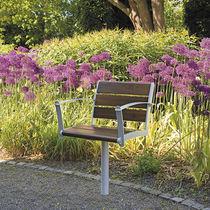 Sedia da giardino moderna / con braccioli / in metallo / in legno