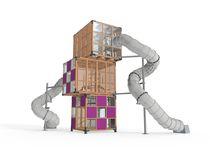 Struttura ludica in legno / per parco giochi / per edifici pubblici / modulare