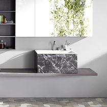 Lavabo da appoggio / rettangolare / in Corian® / in marmo