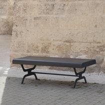 Panca pubblica / moderna / in legno esotico / in acciaio galvanizzato