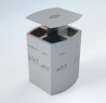 Pattumiera pubblica / in acciaio / per raccolta differenziata / con portacenere integrato