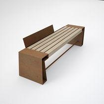 Panca pubblica / moderna / in legno / in corten