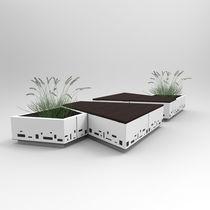 Panca pubblica / da giardino / moderna / in legno
