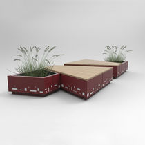 Panca pubblica / da giardino / design originale / in legno