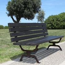 Panca pubblica / design originale / in metallo verniciato / in legno