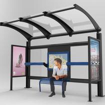 Pensilina per fermata d'autobus in acciaio / in vetro / in policarbonato