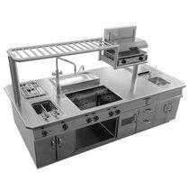 cucina moderna in acciaio inox con isola professionale