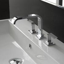 Miscelatore doppio comando per lavabo / da appoggio / in nichel / in metallo cromato
