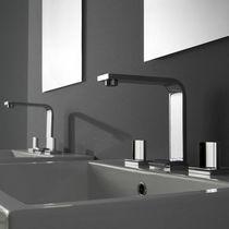Miscelatore doppio comando per lavabo / da parete / in nichel / in metallo cromato
