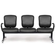 Sedute su barra in pelle / in metallo / 3 posti / da interno