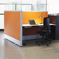Divisorio per ufficio a pavimento / in vetro / in alluminio / insonorizzato