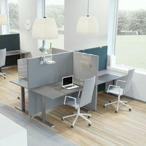 Divisorio per ufficio a pavimento / in tessuto / in legno / insonorizzato