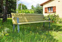 Panca pubblica / moderna / in legno / in acciaio galvanizzato