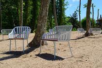 Panca da giardino / classica / in legno / in acciaio