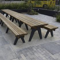 Tavolo da picnic moderno / in legno / in acciaio galvanizzato / rettangolare
