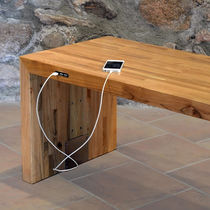 Panca pubblica / design minimalista / in legno / in acciaio