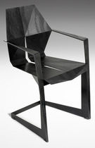 Sedia design originale / con braccioli / cantilever / in acciaio