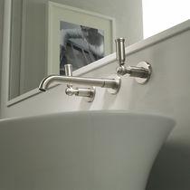 Miscelatore doppio comando per lavabo / da parete / in ottone cromato / da bagno